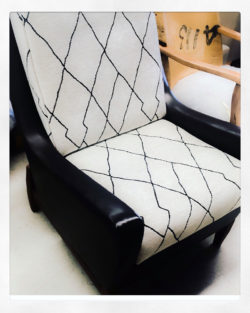 Reupholstered Leather lounge chair