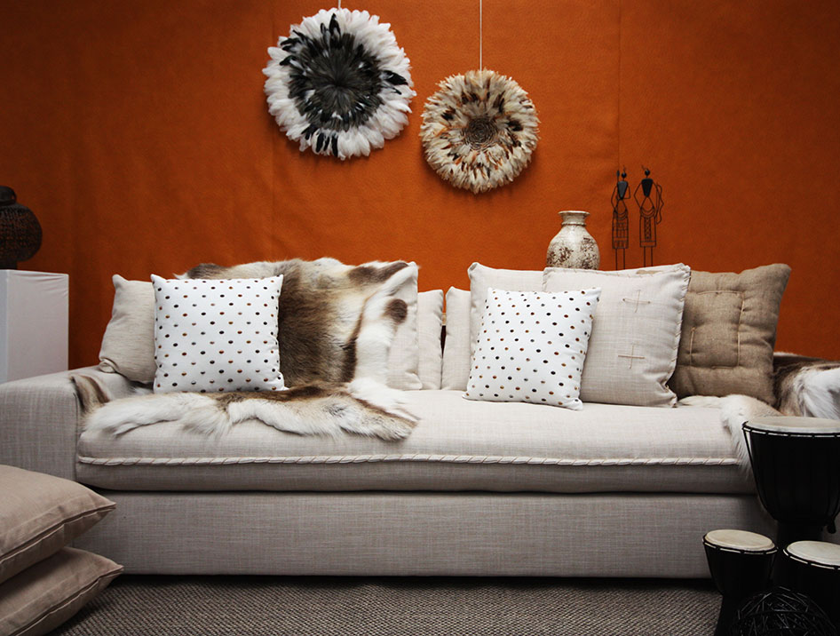 """Custom Furniture Design """"The Sorrento"""" lounge setting with casual tribal styling"""